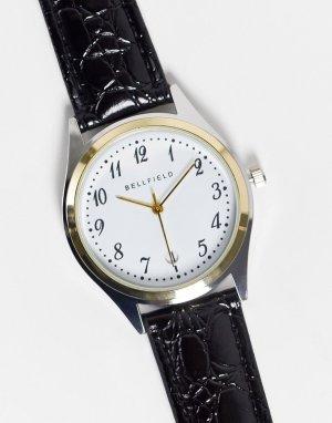Мужские часы с черным кожаным ремешком и белым циферблатом -Черный цвет Bellfield