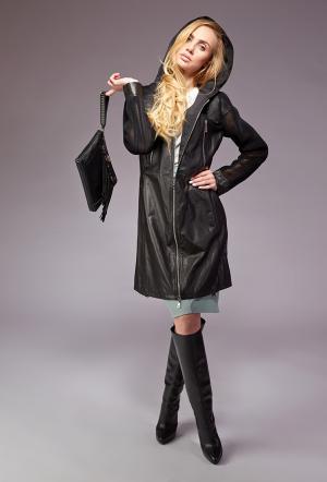 Черный кожаный плащ AFG. Цвет: черный