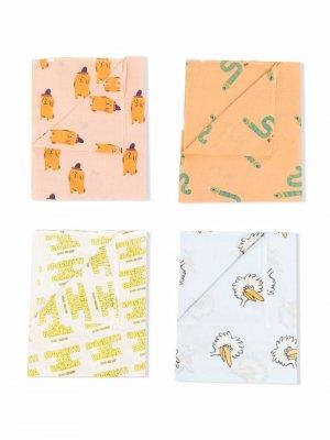 Комплект из четырех платков с принтом Bobo Choses. Цвет: оранжевый