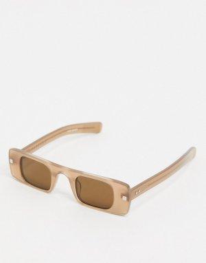 Солнцезащитные очки в узкой оправе нюдового цвета Cut Seven-Neutral Spitfire