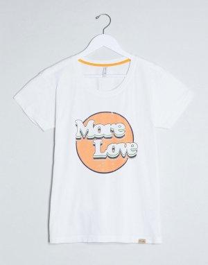 Белая футболка с надписью -Белый Blend She