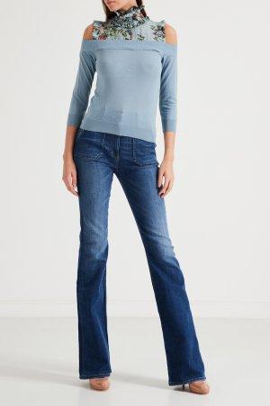 Голубой пуловер с цветочной вставкой Elisabetta Franchi