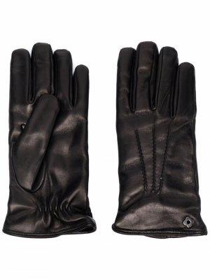 Перчатки с декоративной строчкой Lardini. Цвет: черный