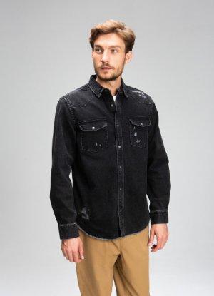 Джинсовая рубашка со стиркой из плотного денима O`Stin. Цвет: черный