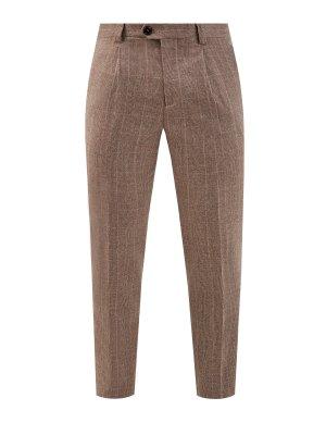 Шерстяные брюки-чинос в клетку BRUNELLO CUCINELLI. Цвет: коричневый