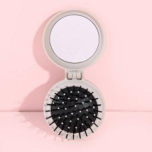 Щетка для волос и зеркало 2 в 1 SHEIN. Цвет: серый