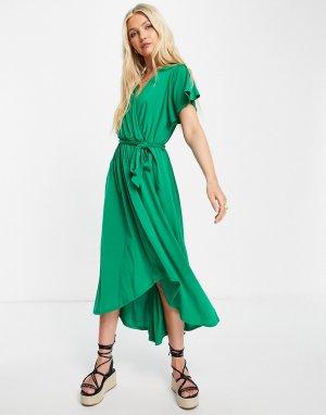 Зеленое платье с запахом и расклешенными рукавами -Зеленый цвет Gilli