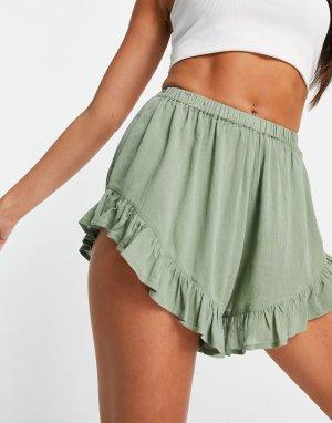 Пляжные шорты из жатой ткани цвета хаки с оборками -Зеленый цвет ASOS DESIGN