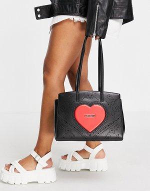 Сумка-тоут черного цвета с большим логотипом-сердечком -Черный цвет Love Moschino