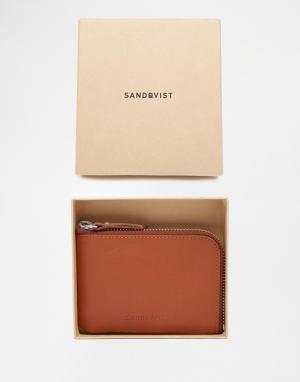 Кожаный кошелек на молнии Sandqvist. Цвет: коричневый