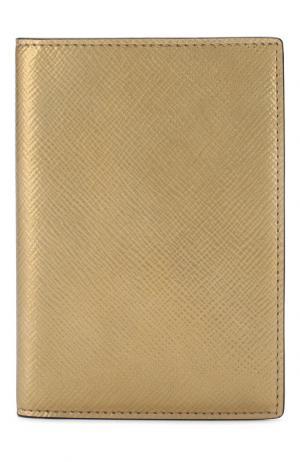 Кожаная обложка для паспорта Panama Smythson. Цвет: золотой