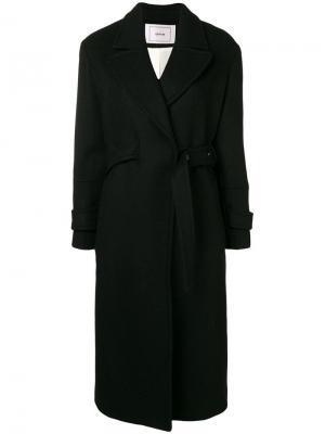 Двубортное пальто с поясом Mauro Grifoni. Цвет: черный