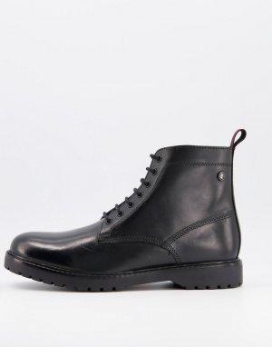 Черные кожаные ботинки на шнуровке -Черный Base London