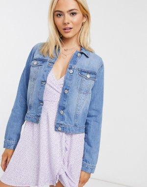Короткая джинсовая куртка в стиле oversized голубого цвета -Голубой Miss Selfridge