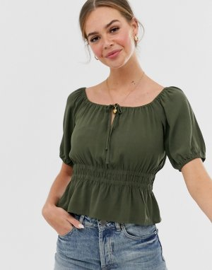 Укороченная блузка в стиле прерий -Зеленый Abercrombie & Fitch