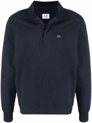 Рубашка поло с длинными рукавами и логотипом C.P. Company. Цвет: синий