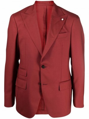 Пиджак с заостренными лацканами LUIGI BIANCHI MANTOVA. Цвет: красный