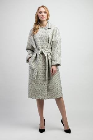 Демисезонное пальто из смесовой ткани на большой размер Elisabetta. Цвет: черно-белый