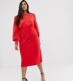 Тканое платье-футляр миди ASOS DESIGN Curve-Красный Curve