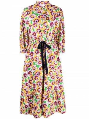 Платье-рубашка миди с цветочным принтом Chinti and Parker. Цвет: нейтральные цвета