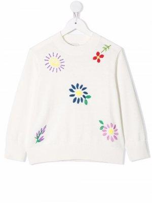 Джемпер с цветочной вышивкой Stella McCartney Kids. Цвет: белый