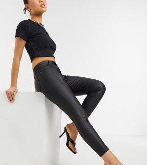 Черные джинсы скинни с покрытием Petite Jamie-Черный цвет Topshop