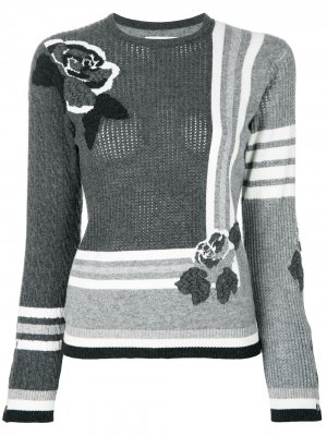 Пуловер с узором интарсия Thom Browne. Цвет: серый