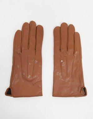 Светло-коричневые кожаные перчатки с отделкой для управления сенсорными гаджетами -Светло-коричневый Barneys Originals