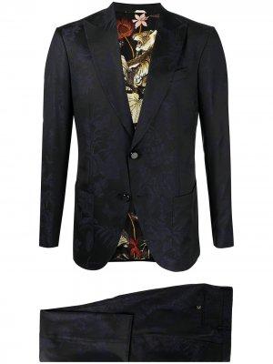 Жаккардовый костюм с цветочным узором ETRO. Цвет: синий