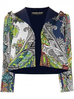 Приталенная куртка с принтом Le Petite Robe Di Chiara Boni. Цвет: синий