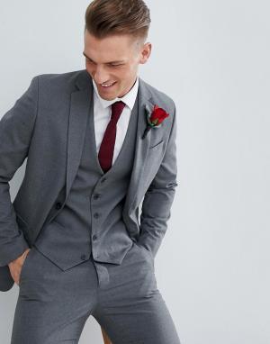 Серый приталенный пиджак wedding-Черный New Look