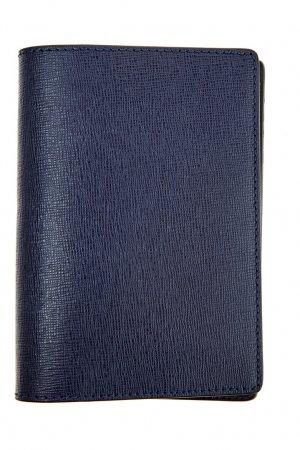 Синяя обложка на паспорт из кожи Canali. Цвет: синий