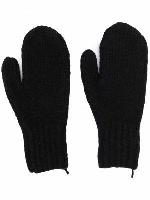 Шерстяные перчатки в рубчик Acne Studios. Цвет: черный