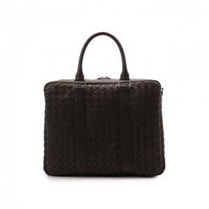 Кожаная сумка для ноутбука Bottega Veneta. Цвет: коричневый