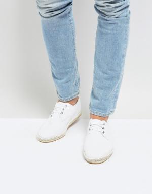 Белые фактурные эспадрильи для широкой стопы на шнуровке -Белый ASOS DESIGN