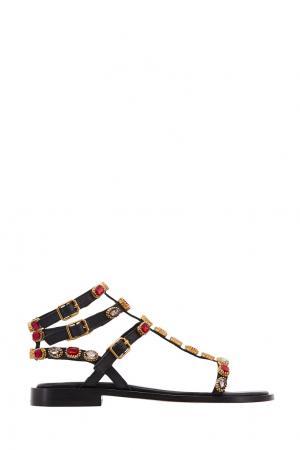 Кожаные сандалии Passion с кристаллами ASH. Цвет: черный