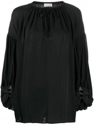 Блузка оверсайз с завязками By Malene Birger. Цвет: черный