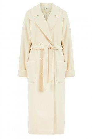 Шерстяное пальто молочного цвета LAROOM. Цвет: белый