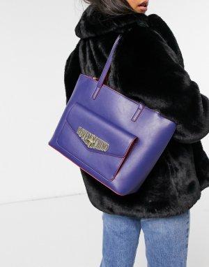 Большая синяя сумка-тоут Locked In Love-Синий Love Moschino
