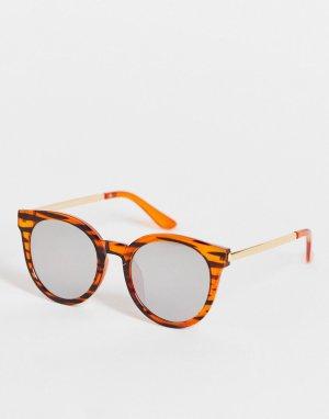 Солнцезащитные очки в круглой оправе коричневого цвета с черепаховым принтом стиле унисекс -Коричневый цвет AJ Morgan