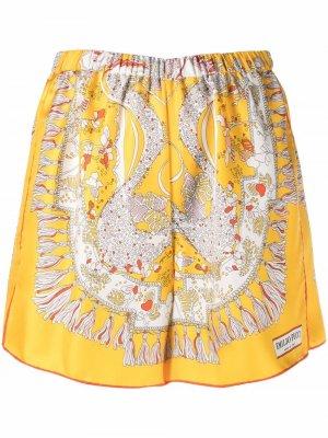 Твиловые шорты с принтом Rugiada Emilio Pucci. Цвет: желтый
