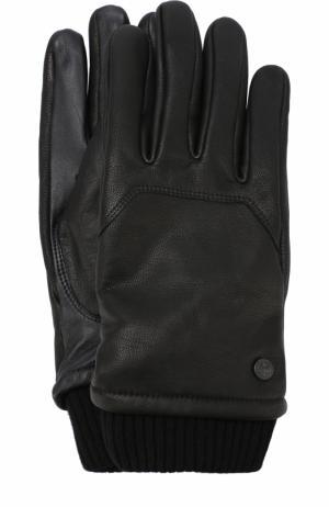 Кожаные перчатки с шерстяными манжетами Canada Goose. Цвет: черный