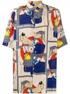 Рубашка оверсайз Wolf JC de Castelbajac Pre-Owned. Цвет: синий