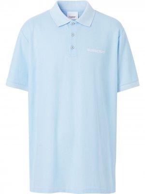 Рубашка поло с монограммой Burberry. Цвет: синий