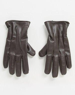 Коричневые перчатки из искусственной кожи -Коричневый Jack & Jones