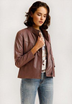 Куртка кожаная Finn Flare. Цвет: розовый