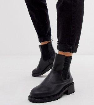 Черные ботинки челси для широкой стопы Action-Черный ASOS DESIGN