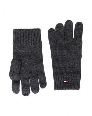 Перчатки TOMMY HILFIGER. Цвет: свинцово-серый