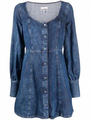 Джинсовое платье мини с U-образным вырезом GANNI. Цвет: синий