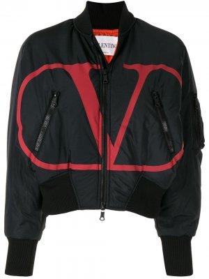 Куртка-бомбер с логотипом VLogo Valentino. Цвет: черный